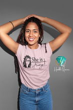 Load image into Gallery viewer, She is Strong Loc'd Queen Tee l Best Christian Shirts, She Is Strong Shirt, Jesus Shirt, Faith Shirt, Religious Shirt, Inspirational Shirt, Bible Quotes, Church Quotes