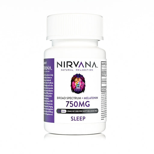 Nirvana CBD + Melatonin 750mg Gel Capsules - 30 Gels