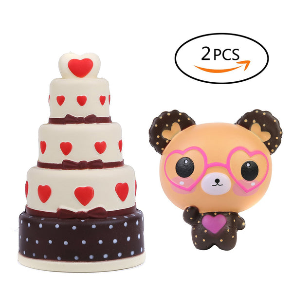 2 PCs Five-Layer Cake Glasses Bear Squishy Slow Rising Kawaii Toys - Loomance Squishies