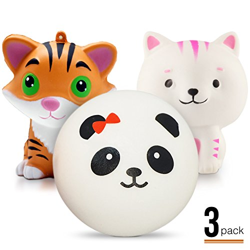 3PCS Jumbo Kawaii Panda Tiger Cat Squishy - Loomance Squishies