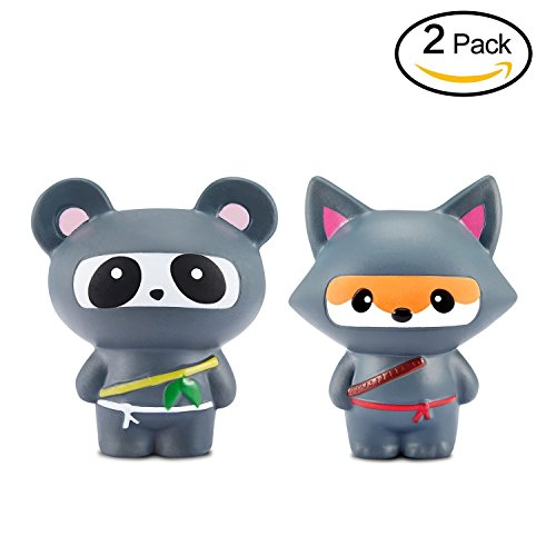 Doll Soft Set Of 2 Ninja Fox And Panda Gift Package(2PCS) - Loomance Squishies