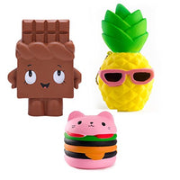 3PCS Squeeze Toy Emoji Toy for Kids Adults Pineapple+Chocolate+Hamburgers - Loomance Squishies