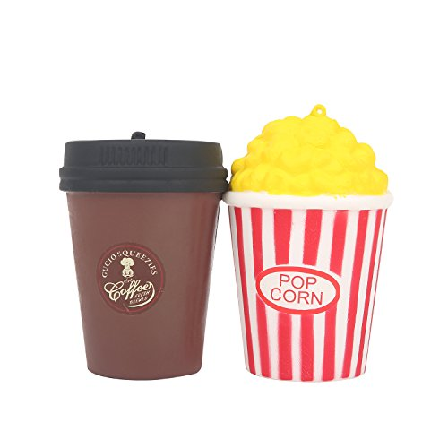 Soft Popcorn and Coffee Cup (Cinema Pack) Slow Rising Scented Jumbo Squishy - Loomance Squishies