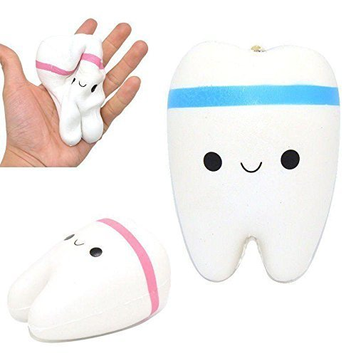 2pcs Cute Cartoon Tooth Pendant Squishy Toys - Loomance Squishies
