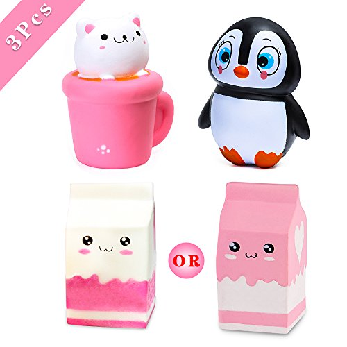 3PCS Squishy Toys Cat Cup+Milk Box+ Penguin Emoji Toy - Loomance Squishies