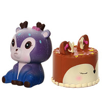 Deer Cake with Galaxy Deer Squishies 2PC Squishy Toys - Loomance Squishies