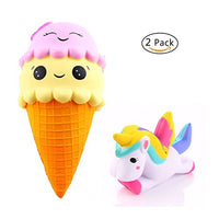 2 PCS Scented Soft  Squishies Lovely Toys Ice Cream & Unicorn - Loomance Squishies