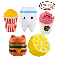 Cute Squishy 5PCs - Stress Relief Squishys Toy  - Lemon, Teeth, Cat Hamburger, Pop corn, Coffee - Loomance Squishies
