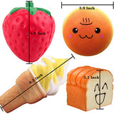 Pack of 4 Jumbo Slow Rising Squishies Strawberry SPA Hamburger Ice Cream Toast Bread - Loomance Squishies