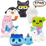 Penguin, Hamster, Ninja Fox Set Kawaii Cream Scented Squishies 9 Pack - Loomance Squishies