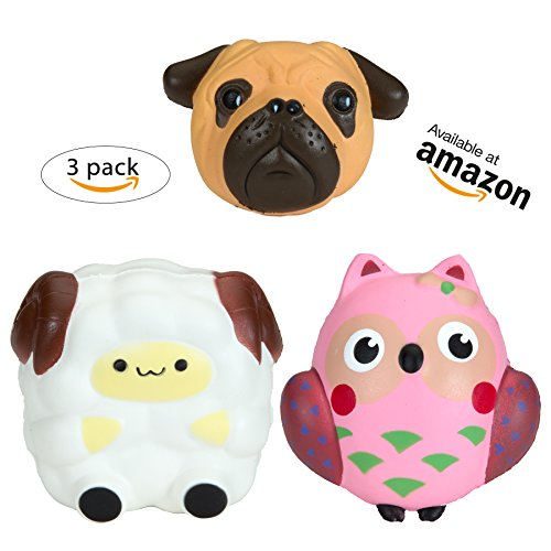 Jumbo Animal Squishies Pug Dog Sheep Pink Owl 3Pack - Loomance Squishies