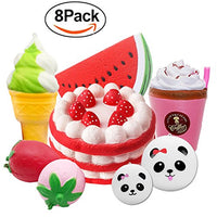 8 pcs Squishies Toy Panda Bun Strawberry Cake Ice Cream Coffee Cup Watermelon - Loomance Squishies