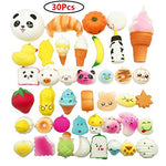 Random 30pcs Jumbo Medium Mini Soft Squishy Cake/Panda/Bread/Buns Phone Straps - Loomance Squishies