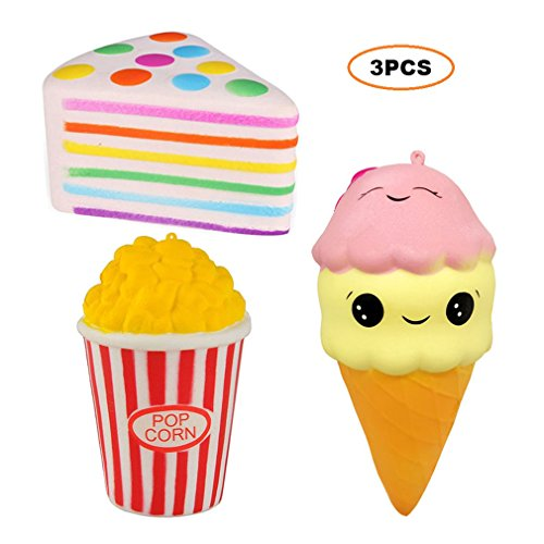 3pcs Squishies Set Popcorn Ice Cream Rainbow Triangle Cake - Loomance Squishies