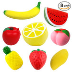 8 pcs Jumbo Squishies Fruit - Apple Banana Lemon Mango Peach Pineapple Strawberry Watermelon - Loomance Squishies