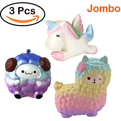 Jumbo Squishies Unicorn Alpaca Sheep Cream Scented Toys Pack of 3 - Loomance Squishies