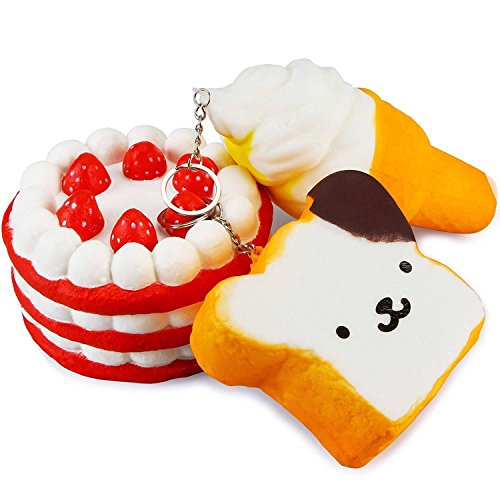 Scented Squishy Strawberry Cake Toast and Ice Cream Pack of 3 - Loomance Squishies