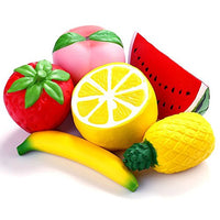 6pcs Squishies Fruit Lemon Peach Pineapple Strawberry Banana Watermelon - Loomance Squishies