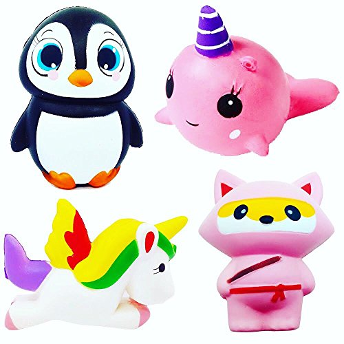 Kawaii Squishy Squeeze Toys For Kids and Adults 4 Pieces Cute Animal Package - Loomance Squishies