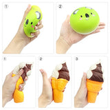 Best Selling-5pcs Squishies Peach Lemon Ice Cream Cone Bun French Fries - Loomance Squishies