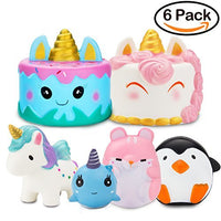 Narwhal Cake Squishy Kawaii Unicorn Mousse Cream Scented Doll  6Pack - Loomance Squishies
