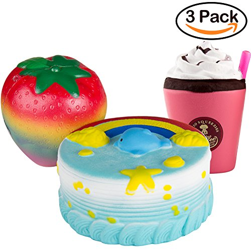 Rainbow Dolphin Cake, Rainbow Strawberry, Drinks Set Squishy Cream - Loomance Squishies