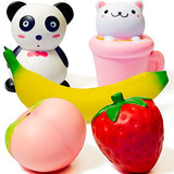 Squishies 5PCS Cute Panda Cup Cat Strawberry Peach Banana - Loomance Squishies