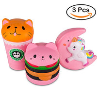 Pink coffee cat 3Pcs Squishy Slow Rising Sweet Scented Vent Charms - Loomance Squishies