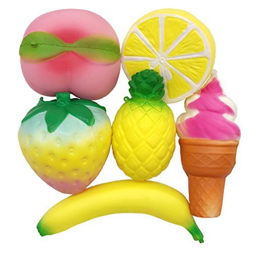6 Pack Kawaii Fruits Set Rainbow Strawberry Peach Banana Lemon Pineapple and Ice Cream Squishies - Loomance Squishies