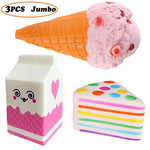 3PC Squishies -Cream Cone Milk Box Rainbow Cake Charms - Loomance Squishies