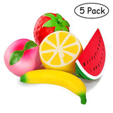 5pcs Jumbo Squishies Strawberry Watermelon Banana Peach Lemon Fruit - Loomance Squishies