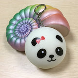 Jumbo Rainbow Scent Conch Squishy with a Small Keychain Panda - Loomance Squishies