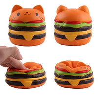 Pack of 4 Jumbo Squishies Cat Hamburger Popcorn Ice Cream Milk Box Charms - Loomance Squishies