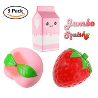 Girls Squishies Toys, Popular Fruit  Peach Strawberry and Milk Box - Loomance Squishies
