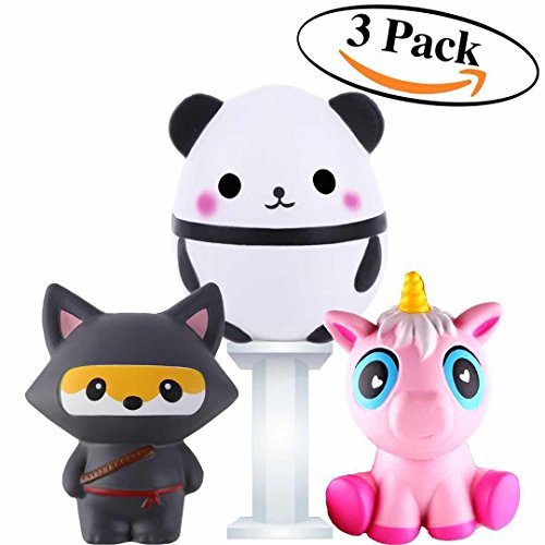 Jumbo Squishies - 3 Pack Kawaii Toy Panda Ninja Fox Unicorn - Loomance Squishies