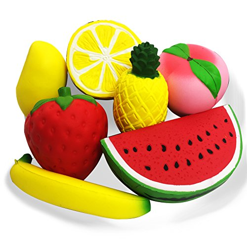 7 PCS Slow Rising Jumbo Fruit Squishies Kawaii squishy Toys - Loomance Squishies