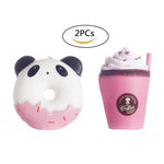 2PCs Squishies Scented Panda Donuts Butter Cups - Loomance Squishies