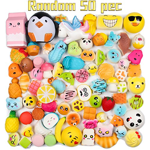 Random 50 Pcs Squishies Jumbo Medium Mini Soft Squishies, Squishy 50Pcs - Loomance Squishies