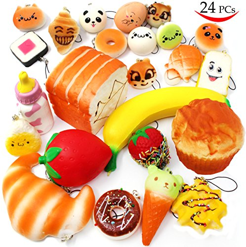 24 Pieces Slow Rising Kawaii Scented Squishy Charms Foods - Loomance Squishies