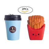 2PCs Squishies Kawaii  Coffee Cup Fries Squishy Food Toy - Loomance Squishies