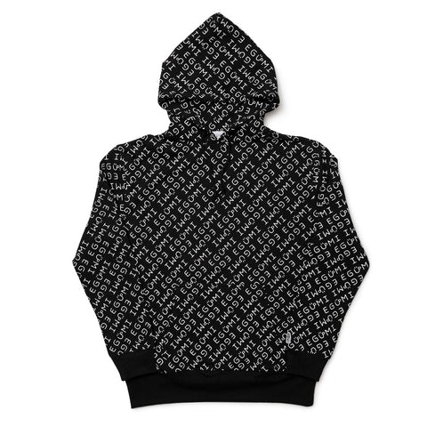 [MADE-TO-ORDER] EGUMI MONOGRAM HOODIE (with raised liner)【BLACK】