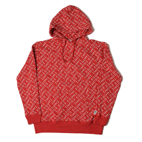 [MADE-TO-ORDER] EGUMI MONOGRAM HOODIE (with raised liner)【RED】
