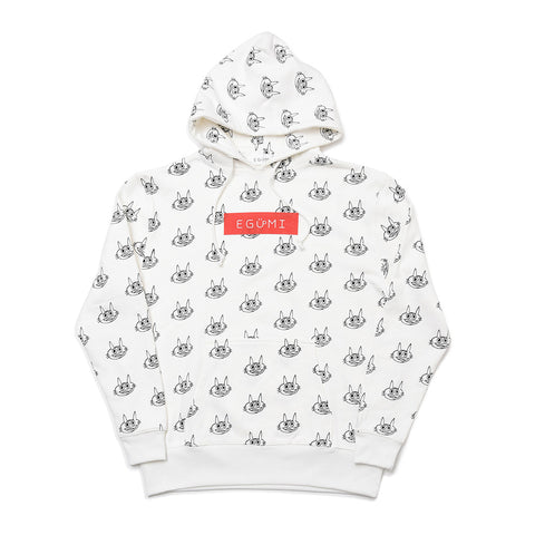 [MADE-TO-ORDER] EGUMI CAT MONOGRAM HOODIE (with soft fleece liner)【WHITE】