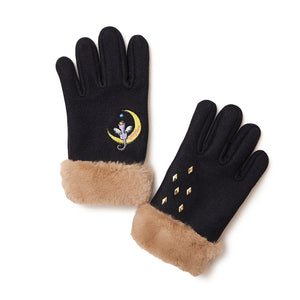 [MADE-TO-ORDER] WINGLE MOON CAT GLOVES【BLACK】