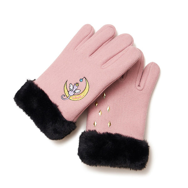 [MADE-TO-ORDER] WINGLE MOON CAT GLOVES【PINK】