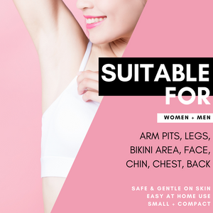 Suitable for women + men arm pits, legs, bikini area, face, chin, chest, back