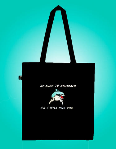 Be Nice to Animals - Embroidered Earth Positive Ethical tote