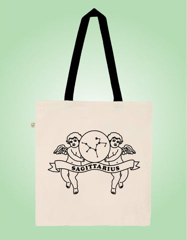 Sagittarius - Natural/Black - Earth Positive Ethical tote.