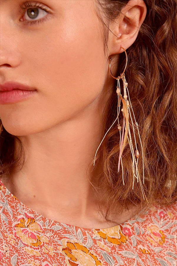 PINK FEATHER BOHO EARRINGS -Silk & Salt
