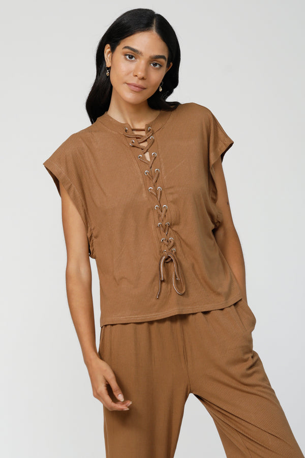 C&C Lace-Up Top - Camel